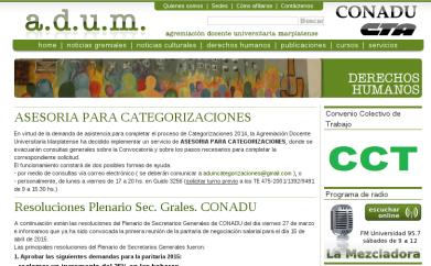ADUM.ORG.AR. Web de la Agremiación Docente Universitaria Marplatense. Wordpress + Template nuevo. http://adum.org.ar/