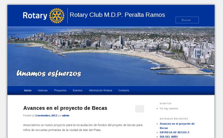 ROTARY CLUB MDP P. RAMOS. Sitio web de uno de los clubes que componen el distrito 4920 de Rotary International. Más de 30 clubes hicieron uso de esta platforma. Wordpress Multisite. http://bit.ly/ArchivoRotaryClubMDPPramos