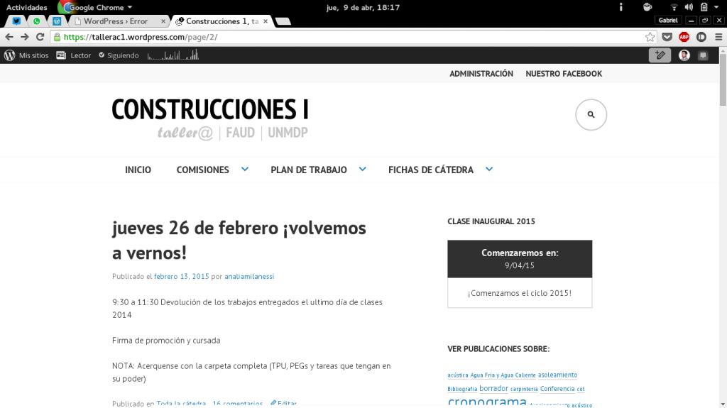 Actual web de la cátedra Construcciones 1 con el theme Edin www.tallerac1.wordpress.com